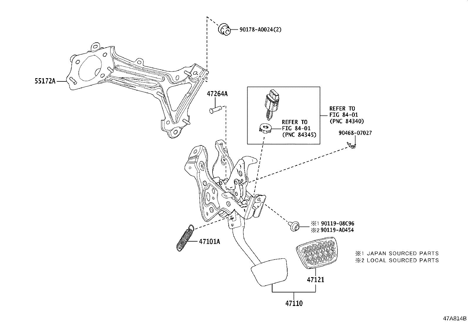 Toyota Camry Support Assembly  Brake Pedal  Brakes  Suspension